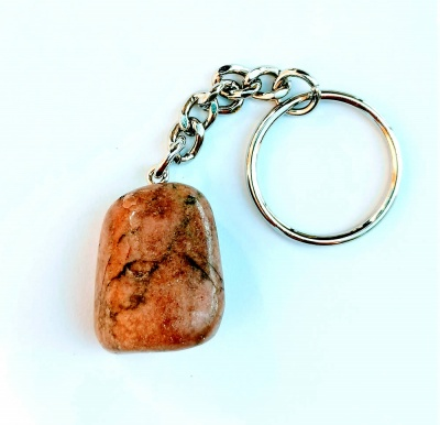 Birth Stone Keyring - Scorpio - Rhodonite
