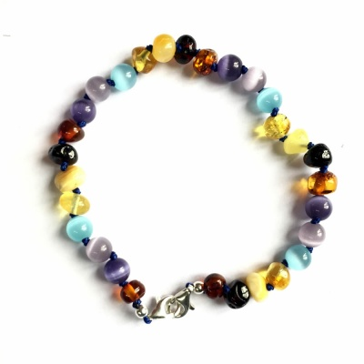 Adjustable Amber and Cats Eye Mix Anklet / Bracelet