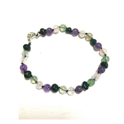 Adult Adjustable Amber, Rose Quartz, Amethyst and Fluorite Bracelet