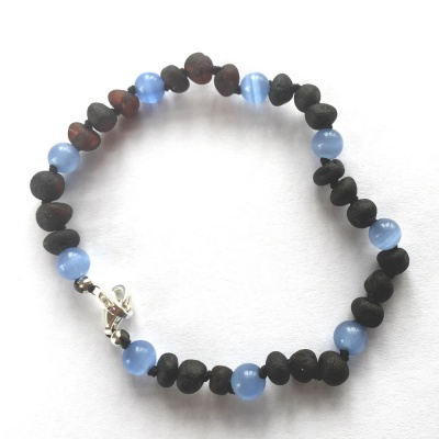 Adult Adjustable Unpolished Amber and Blue Cats Eye Bracelet