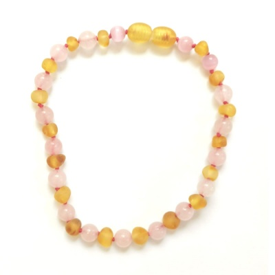Adult Unpolished Honey Amber And Rose Quartz Anklet