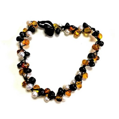 Adult Baltic Amber and Pearl Bracelet