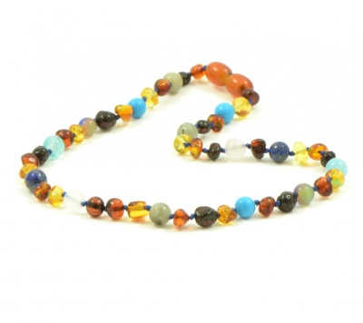 Midnight Treasures Amber and Semi Precious Stones Necklace