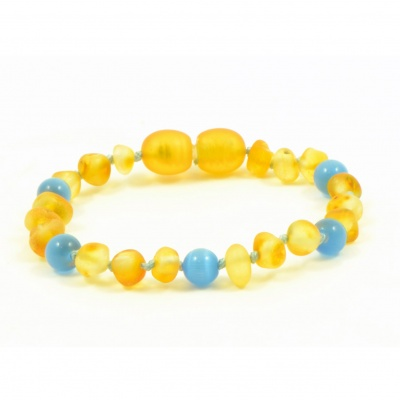 Unpolished HONEY Amber and BLUE Cats Eye Mix Bracelet / Anklet