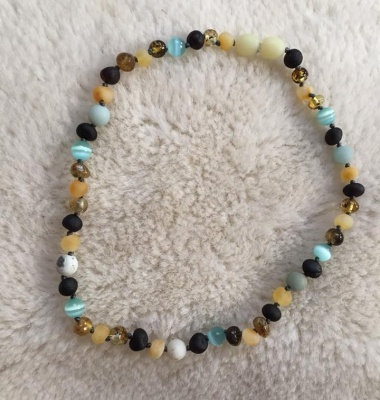 Mixed Amber Amazonite and Cats Eye Necklace