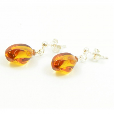 Twisted Amber Drop Earrings with Sterling Silver