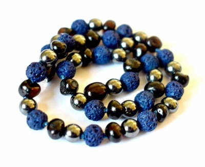 Dark Cherry Amber, Hematite and Blue Lava Necklace