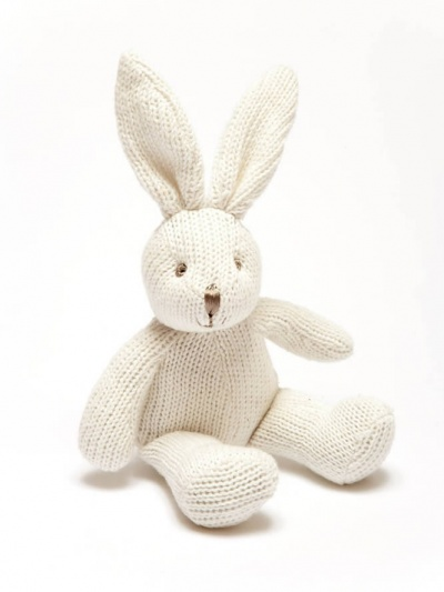 Best Years Organic Knitted White Rabbit with Rattle