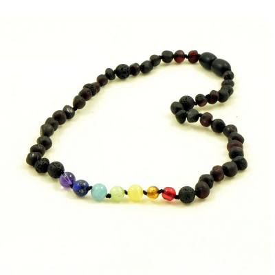 Adult Unpolished Baltic Amber Chakra  Necklace