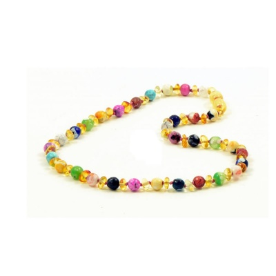 Champagne Amber and Colourful Agate Necklace