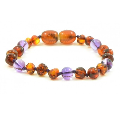 Adult Cognac Amber And Amethyst Bracelet