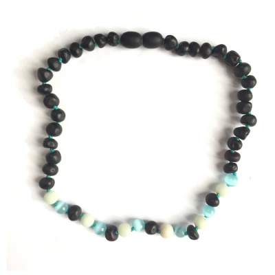 Unpolished Dark Cherry Amber, Amazonite and Light Blue Cats Eye Necklace