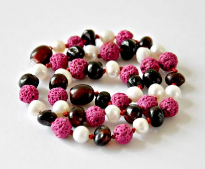 Adult Dark Cherry Amber, Sea Pearl and Pink Lava Necklace