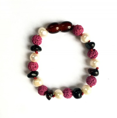 Dark Cherry Amber, Sea Pearl and Pink Lava Anklet / Bracelet