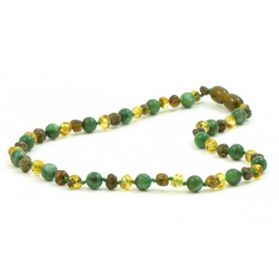 Adult Green Amber and African Jade Mix Necklace