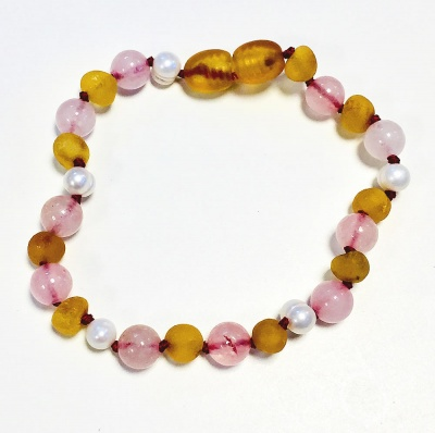 Sea Pearl, Unpolished Honey Amber and Rose Quartz Mix Bracelet / Anklet