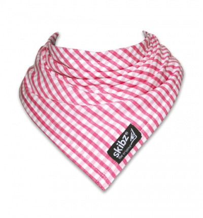 Raspberry Gingham Skibz Teething Bib