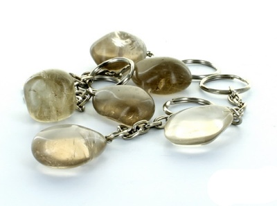 Smoky Quartz Tumble Stone Crystal Keyring
