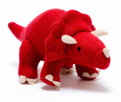 Red Knitted Triceratops Dinosaur Toy