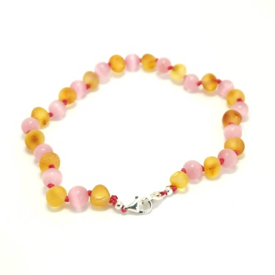 Unpolished Honey Amber and Pink Cats Eye Mix Adjustable Anklet / Bracelet