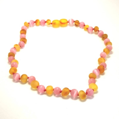 Unpolished Honey Amber and Pink Cats Eye necklace