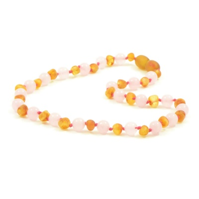 Unpolished Honey Amber and Rose Quartz Necklace