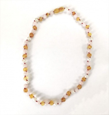 46cm Adult Sea Pearl, Unpolished Honey Amber and Rose Quartz Necklace