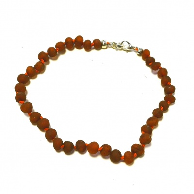Adult Adjustable Unpolished Cognac Amber Bracelet
