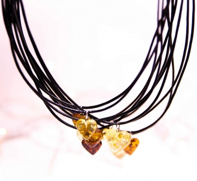 Adult Amber Heart Pendant Necklace