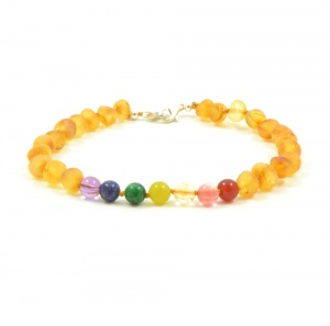 Adult Adjustable 'Pot of Gold' Amber And Semi-Precious Stones Bracelet