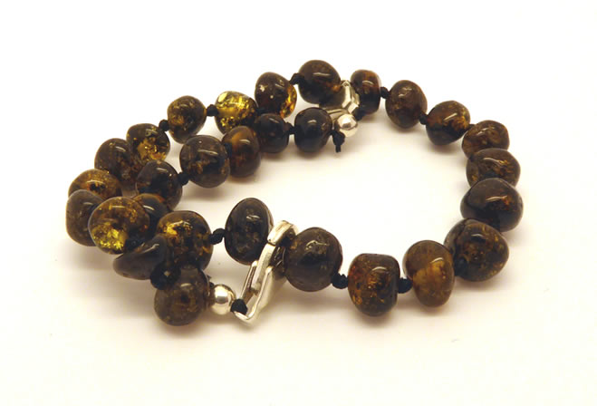 Adjustable amber anklet