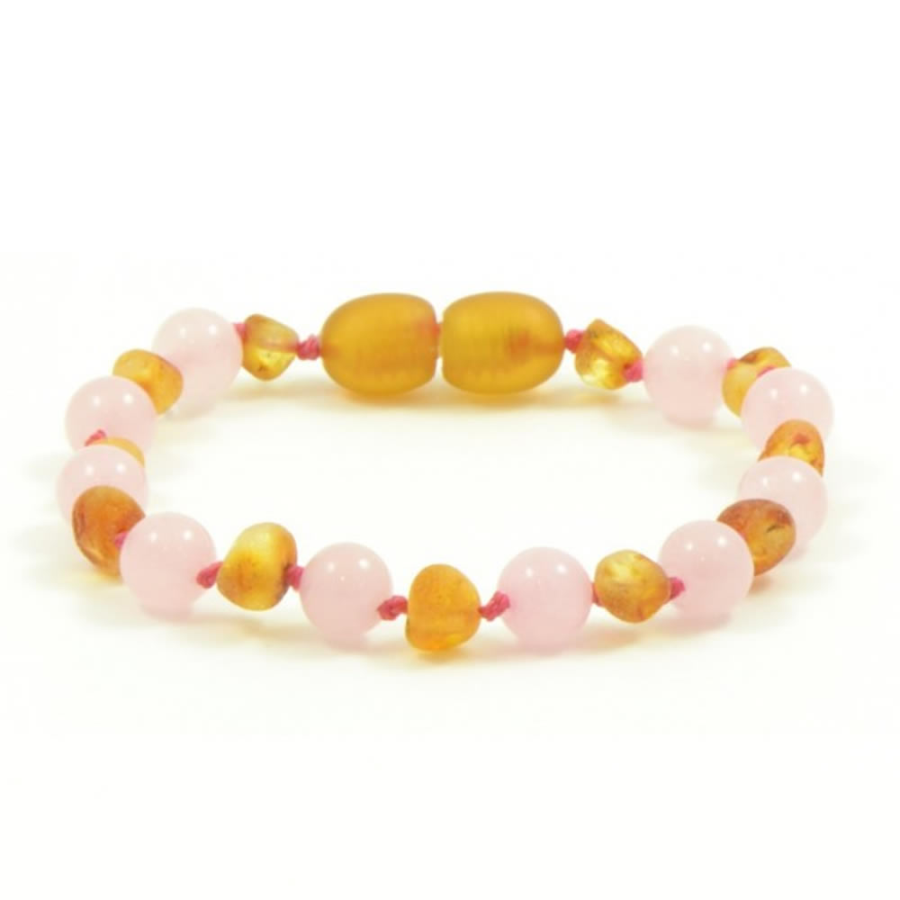 Unpolished Honey Amber And Rose Quartz Mix Bracelet Anklet