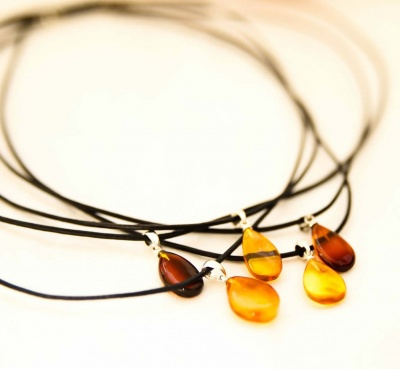 Adult Amber Pear Drop  Pendant Necklace