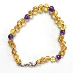 Adjustable Champagne Amber and Amethyst Anklet / Bracelet