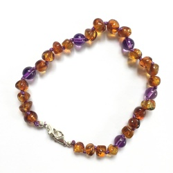 Adult Adjustable Cognac Amber  and Amethyst Bracelet