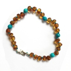 Adult Adjustable Cognac Amber and Turquoise Bracelet