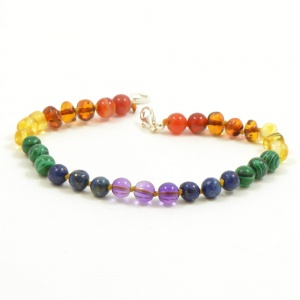 Adult Adjustable 'Rainbow Baby' Amber And Semi-Precious Stones  Bracelet