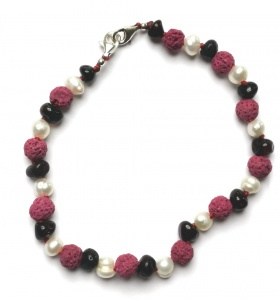 Adjustable Dark Cherry Amber Sea Pearl and Pink Lava  Bracelet / Anklet