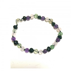 Adjustable Amber, Rose Quartz, Amethyst and Fluorite Anklet / Bracelet