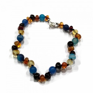 Adult Adjustable Amber and Semi Precious Bracelet -  BLUE