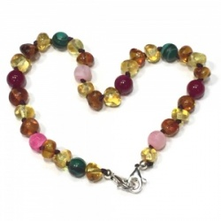 Adult Adjustable Amber and Semi Precious Bracelet - PINK