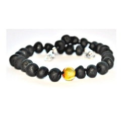Adult Adjustable Unpolished Dark Cherry Amber and Honey Bracelet