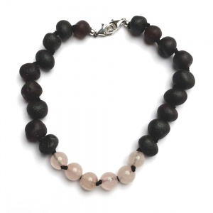 Adult Adjustable Unpolished Dark Cherry Amber and Rose Quartz Bracelet