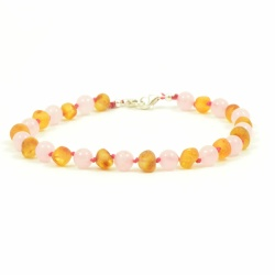 Adult Adjustable Unpolished Honey Amber And Rose Quartz  Bracelet