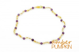 Adult Amber and Amethyst Necklace