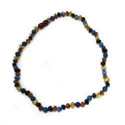 45cm Amber and Semi Precious Stone necklace -  BLUE