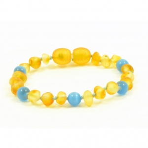 Adult Unpolished HONEY Amber and BLUE Cats Eye Mix Bracelet