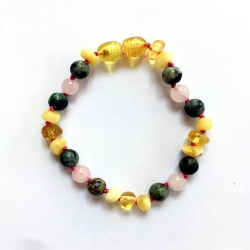 Adult Amber Rose Quartz and African Turquoise Bracelet