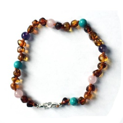 Adjustable Amber Turquoise Rose Quartz and Amethyst Bracelet