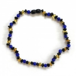 Dark Cherry and Lemon Amber And Blue Cats Eye Necklace